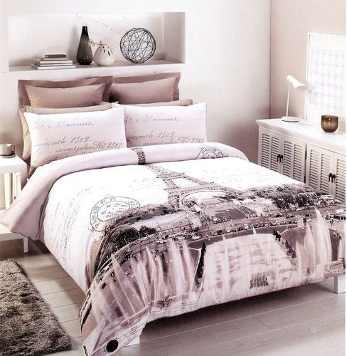 paris eiffel tower double full size quilt cover set 250 tc new kammer raum und wohnen. Black Bedroom Furniture Sets. Home Design Ideas