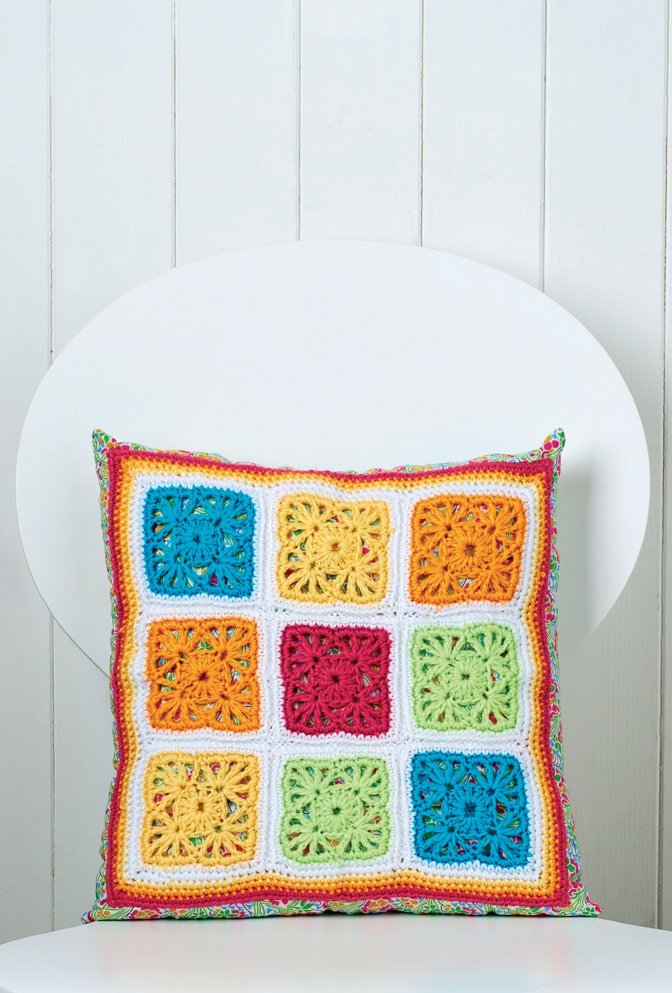 Colourful granny square crochet cushion - Free pattern download ...