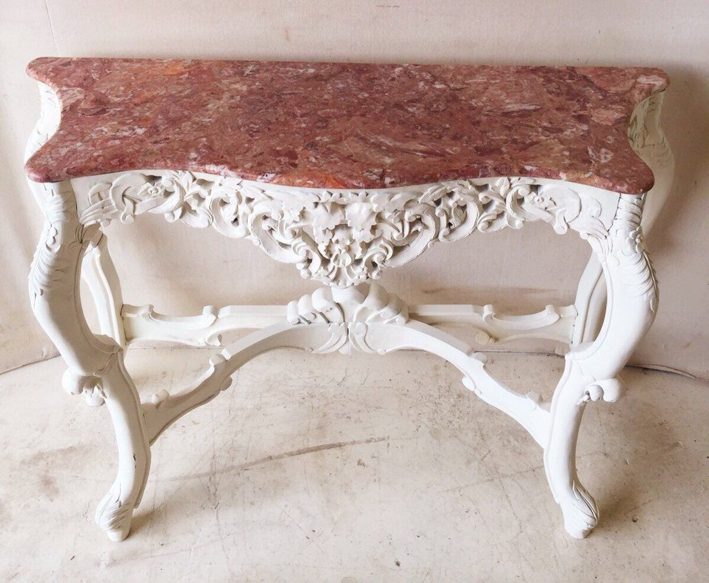 Gorgeous ornate carved wood console table with marble top 395 gorgeous ornate carved wood console table with marble top 395 geotapseo Gallery