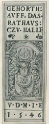 Bookplate of the City of Halle, Germany, 1546