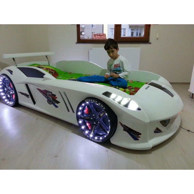 cool kids car beds shaped white racecar bed for kids jaguar with led lights kids will eat up these realistic beds