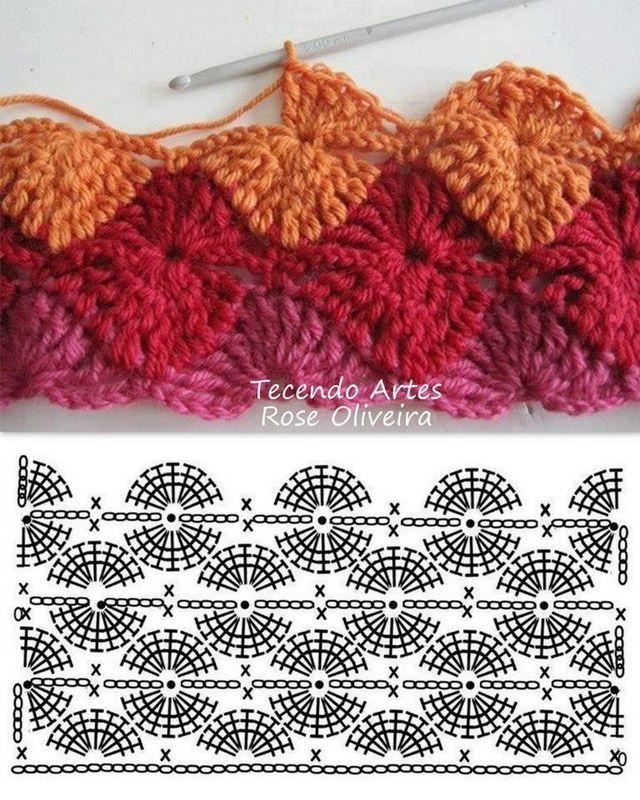 point de coquillage du top rose et gris - Notre Petit Yarn Paradis