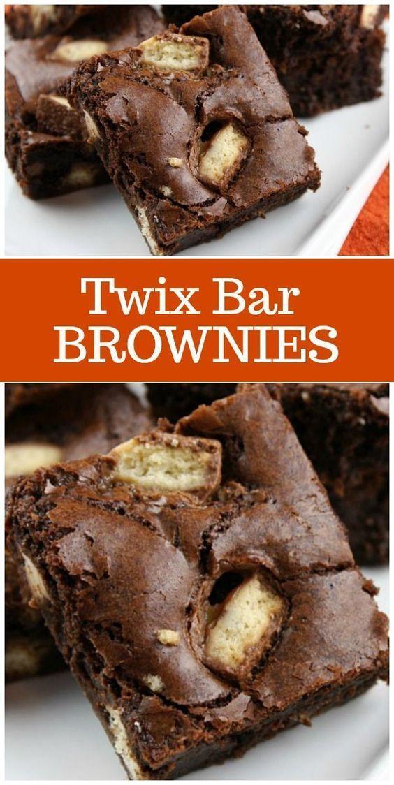 Twix Bar Brownies Twix Bar Brownies recipe from  via @recipegirl