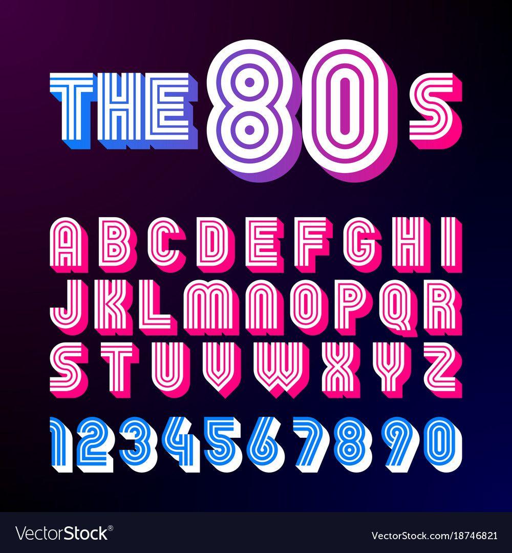 Eighties Style Retro Font 80s Font Design Vector Image On Vectorstock Retro Font Aesthetic Fonts Typography Alphabet