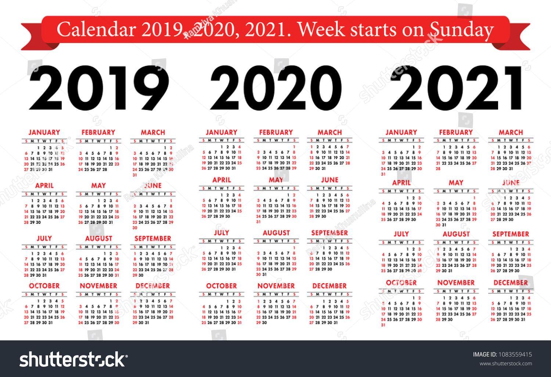 2021 And 2019 Pocket Calendar Pocket calendar 2019, 2020, 2021 set. Basic simple template. Week