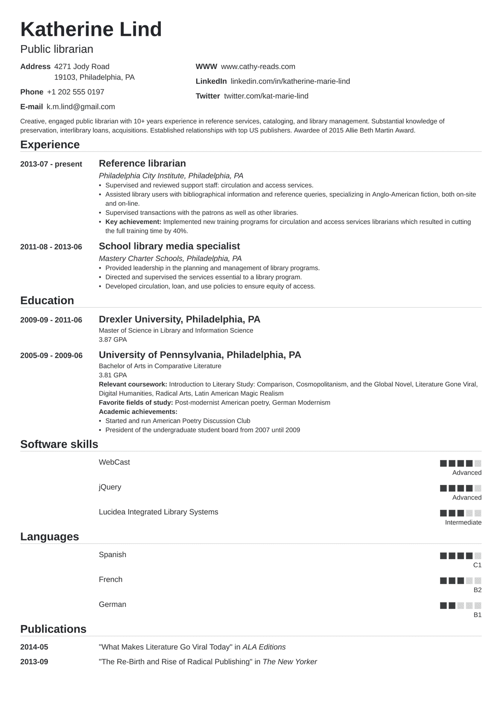 librarian resume template nanica in 2020 Job resume