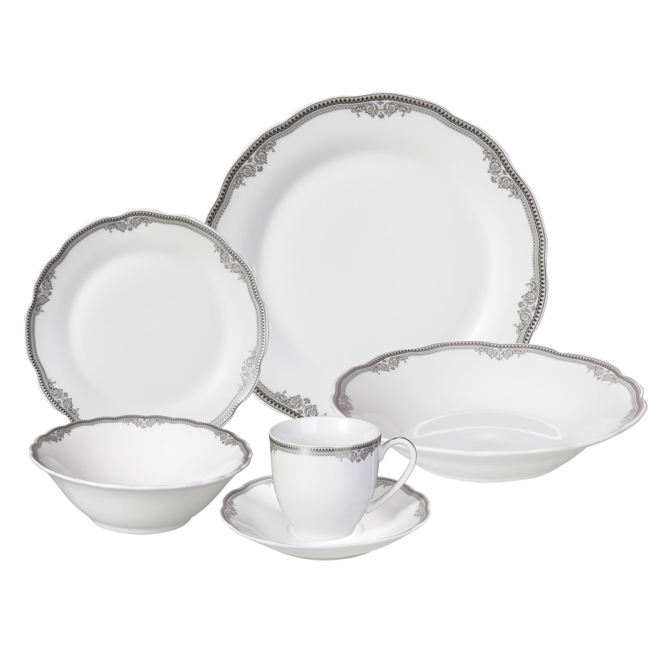 This elegant and stylish dinnerware set with silver wavy edging creates an elegant look while allowing  sc 1 st  Pinterest & This elegant and stylish dinnerware set with silver wavy edging ...