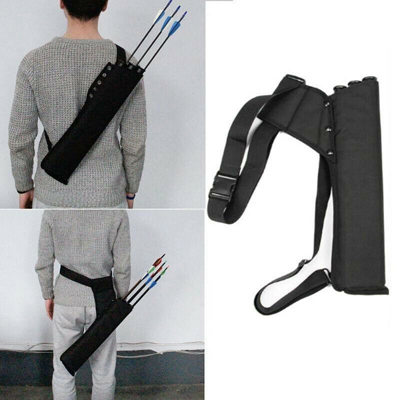 Black Back Arrow Quiver Hunting Archery Bow Holder Shoulder Strap Bag Pouch