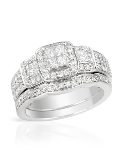 Bidz.com Listing #165565161 : Brand New Ring With 1.18ctw Genuine Diamonds Beautifully Designed in 14K White Gold. Total item weight 8.2g - ...