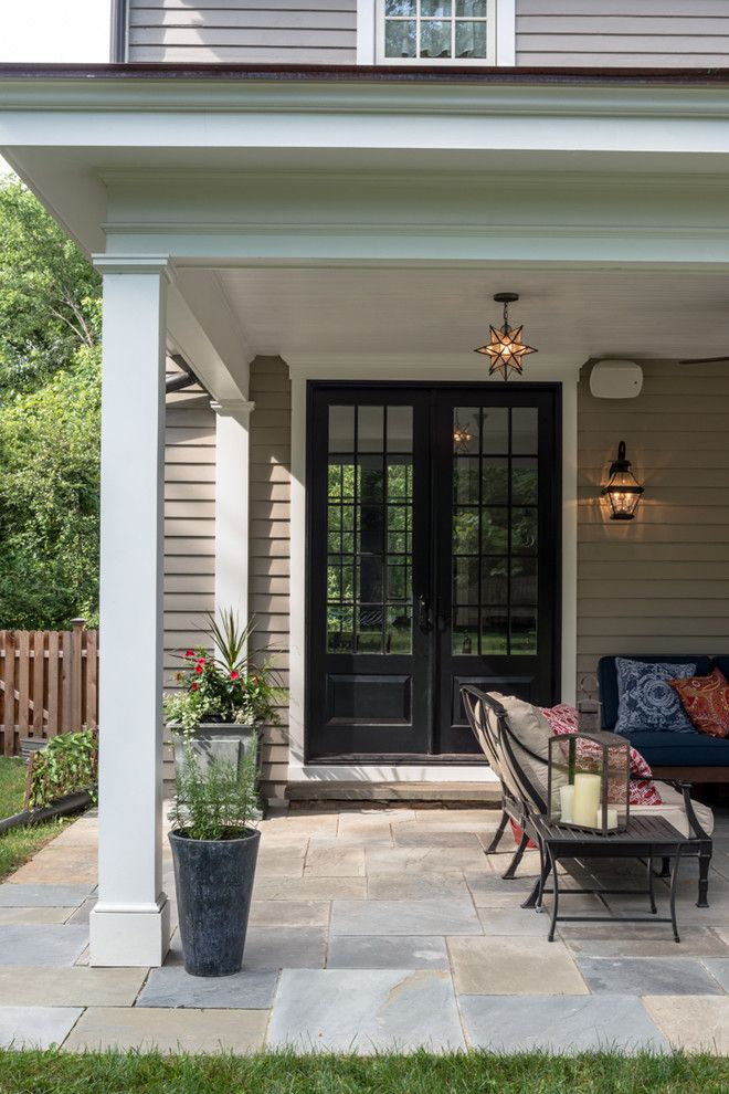 Sublime French Country Doors Exterior Ideas In Porch Traditional Design Ideas With Black Door Copper R French Doors Exterior French Doors Patio Country Patio