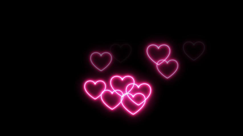 Neon Lights Heart Love. Neon Stock Footage Video