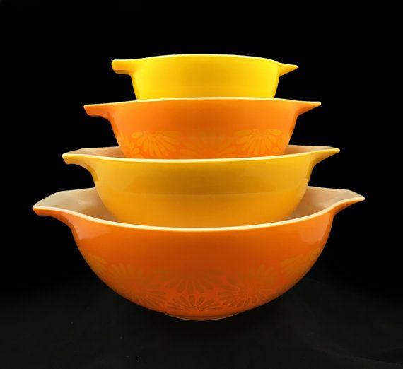 1960s Vintage Pyrex 441, 442, 443, 444 Daisy Yellow and Orange Glass ...