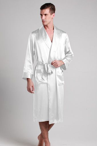 White Color Men Silk Dressing Gown With Custom Plus Size Our 100