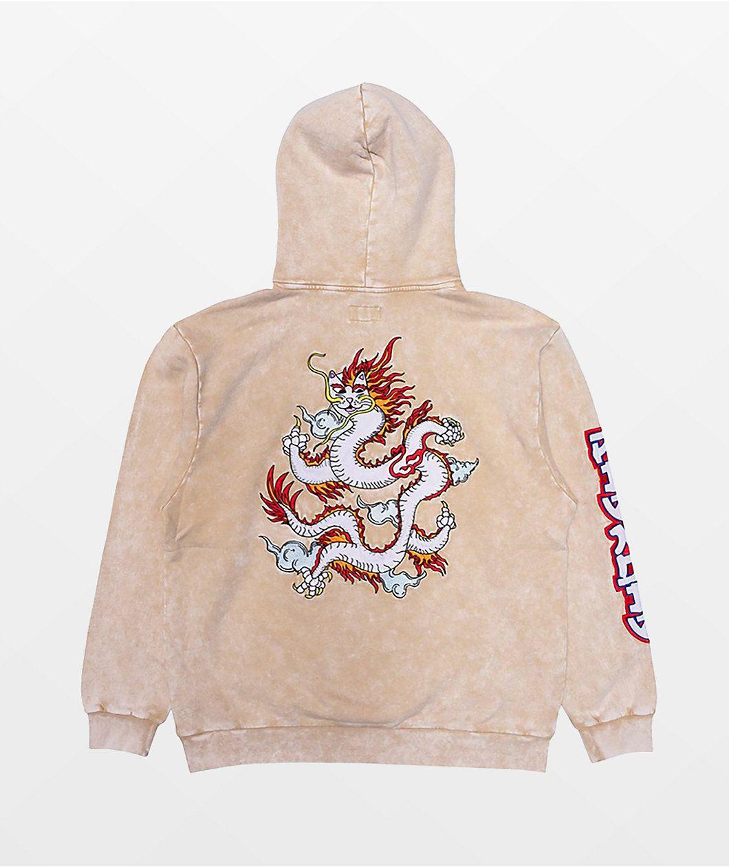 Ripndip Dragonerm Cream Mineral Wash Hoodie Zumiez Hoodies Hoodie Zumiez Fashion Design Clothes [ 1260 x 1060 Pixel ]
