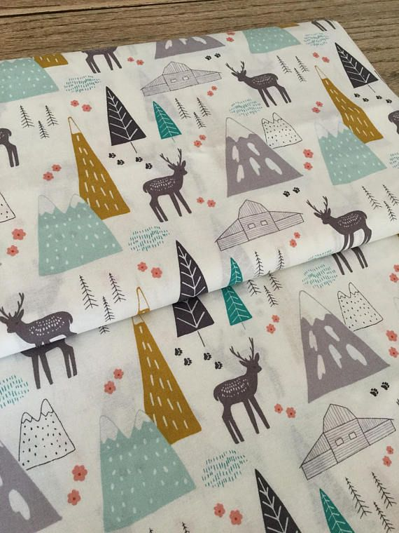 Mountains Fabric Woodland Nursery Tribal Quilting Baby Wood
