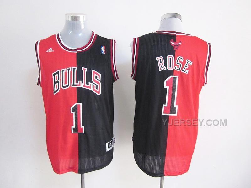 dd697be6d81 Chicago Bulls Jersey Derek Rose Red and Black NBA Men s Split Swingman  Signed Jerseys