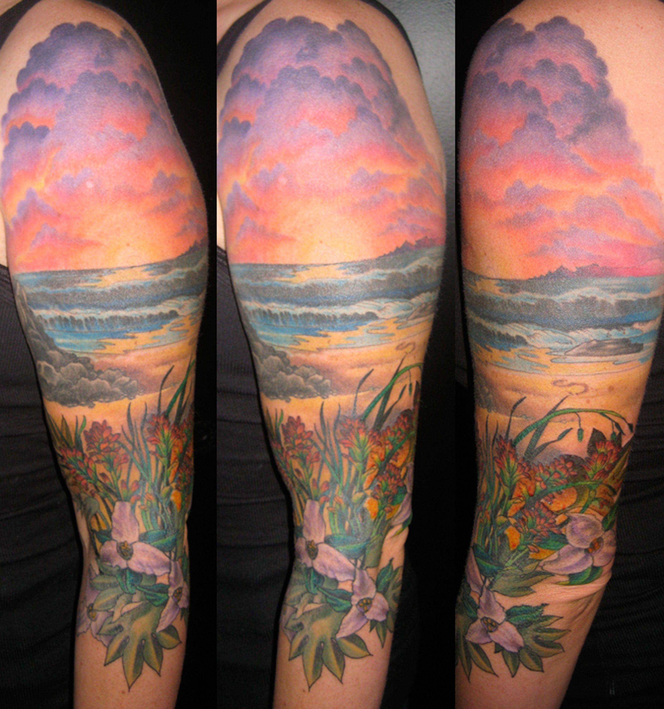 Orange pink and purple clouds tattoos pinterest