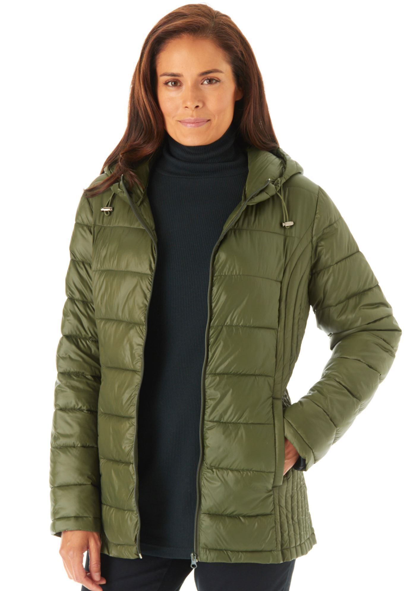 88e9c1c649a Our plus size puffer jacket is your solution to cold weather. Completely  packable into the included drawstring pouch
