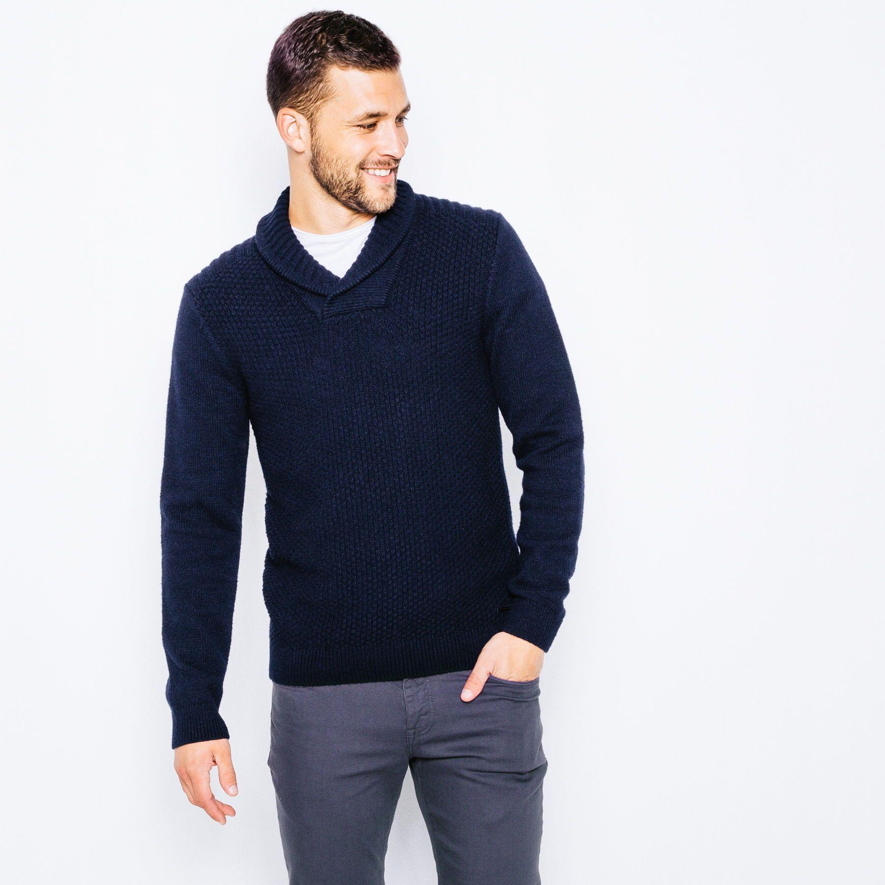 2c1965c48ad1 Pull col châle jeu de point laineux - Vêtement Homme - Bleu