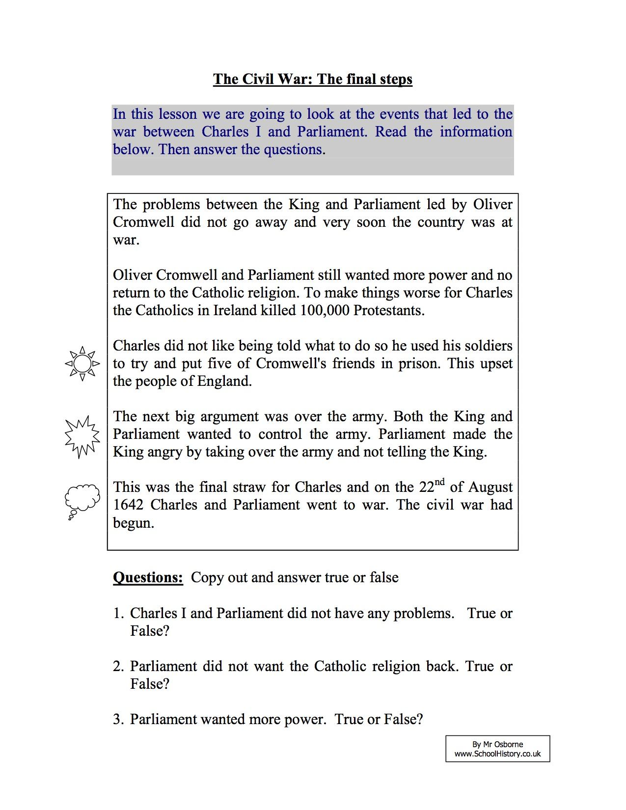 Worksheets Civil War Worksheets short term causes of the english civil war year 8 study worksheet worksheet