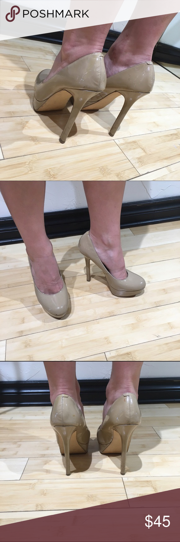 """Nude closed toe pumps Steve Madden """"Bevv"""" These nude patent leather pumps by Steve Madden are one of the most versatile and classic options you can have in your closet! Size 8. """"Bevv"""" 5 inches with 1 1/4 inch platform. Steve Madden Shoes Heels"""