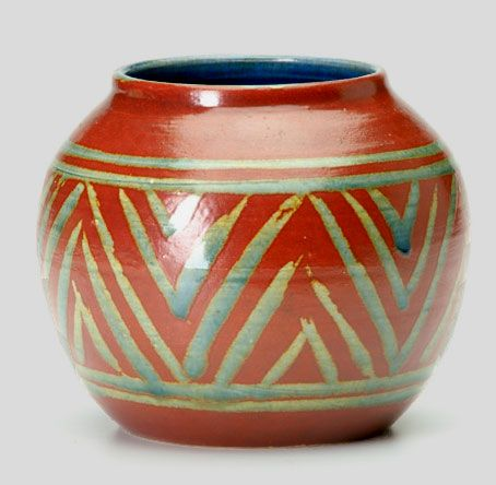 Karl Martz A Spherical Vase With Geometric Decoration In Green On
