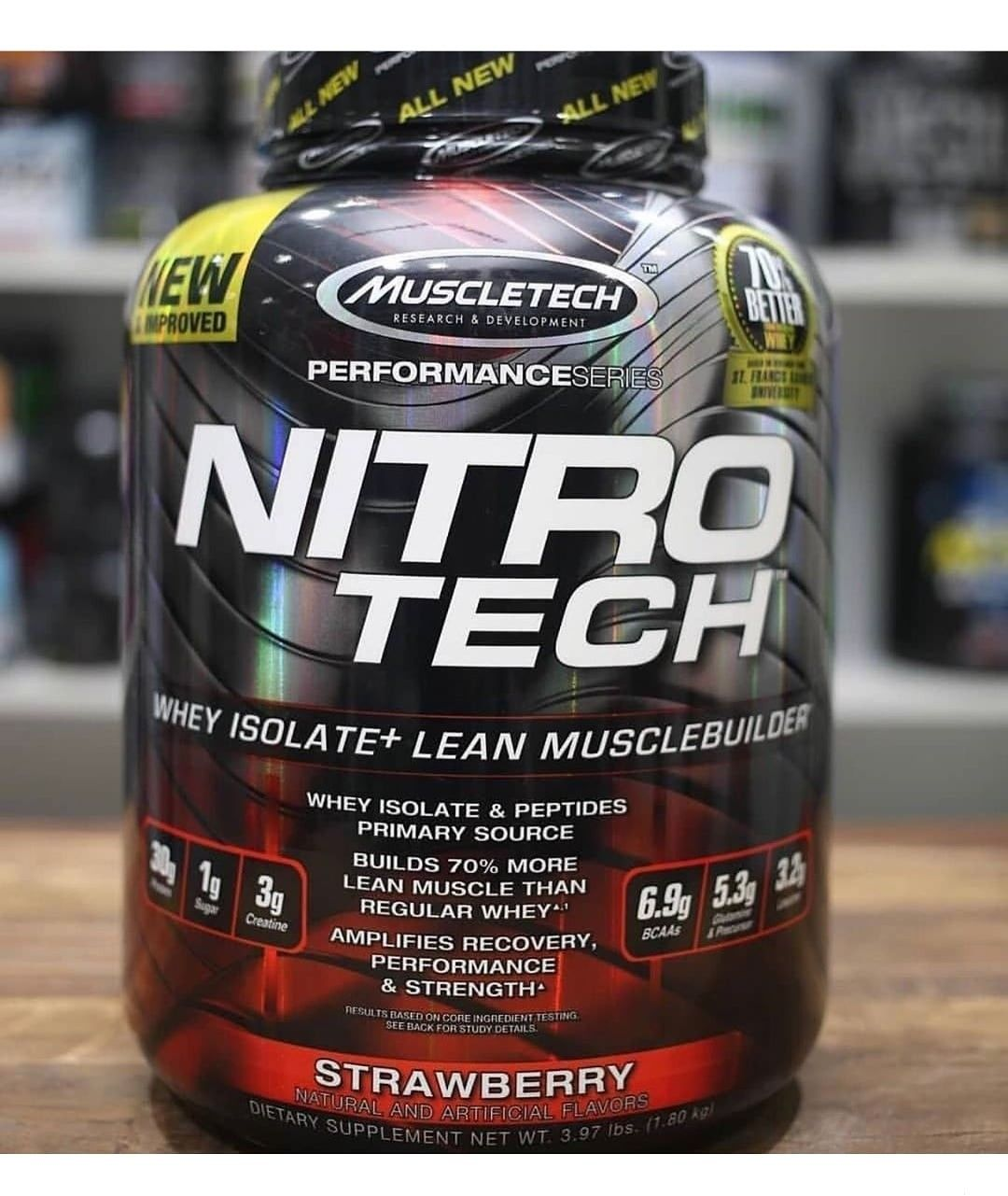 Muscletech Nitro Tech مصل اللبن الذهبي 100 مسحوق بروتين شرش اللبن بمذاق الشوكولاتة المضاعف 5 54 رطل 2 51 كجم Nitro Tech Gold Whey Protein Muscletech
