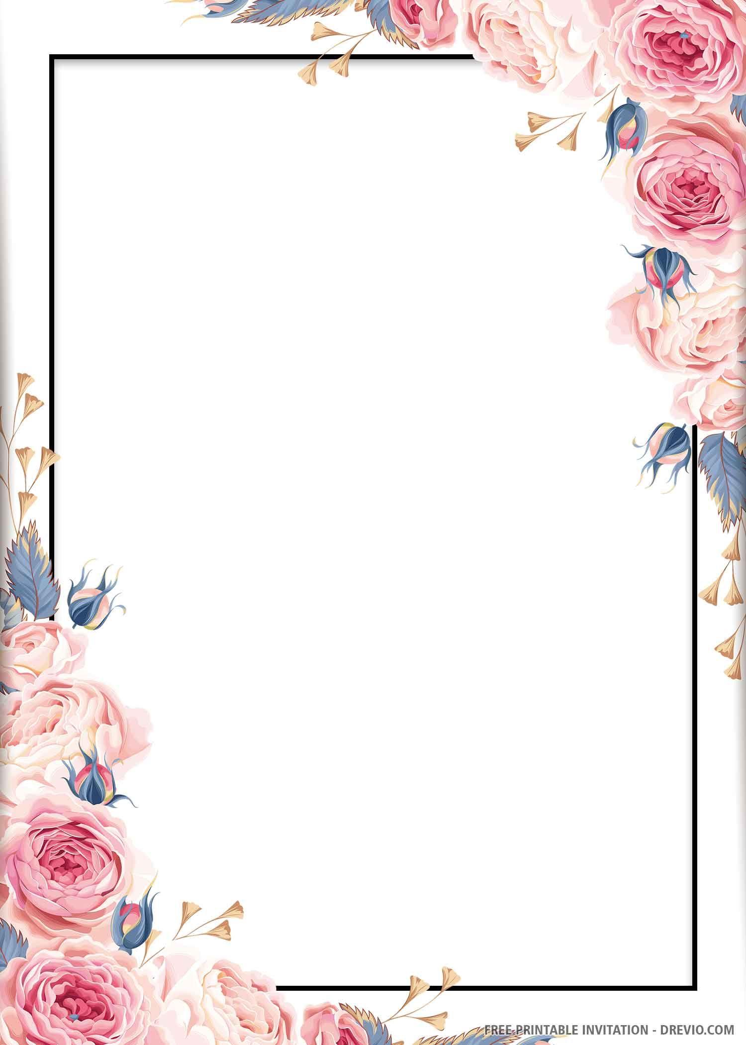 (FREE PRINTABLE) Blue Floral Wedding Invitation Template