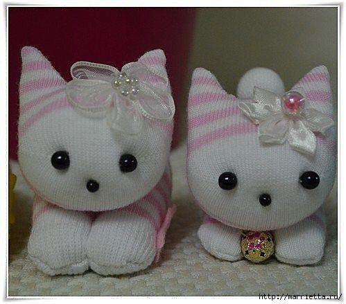 Gatitos hechos con calcetines diy patronesmil - Como hacer talon de calcetines de lana ...