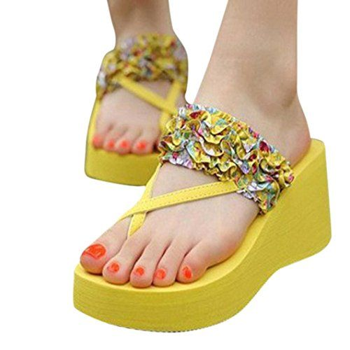 Women Fashion Sandals Casual Shoes Bohemian Slippers Stain Floral Wedge Heeled Flip Flops