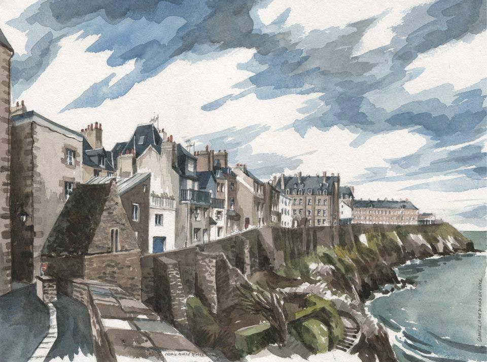 Aquarelle Sylvain Allaire Granville Manche Basse Normandie