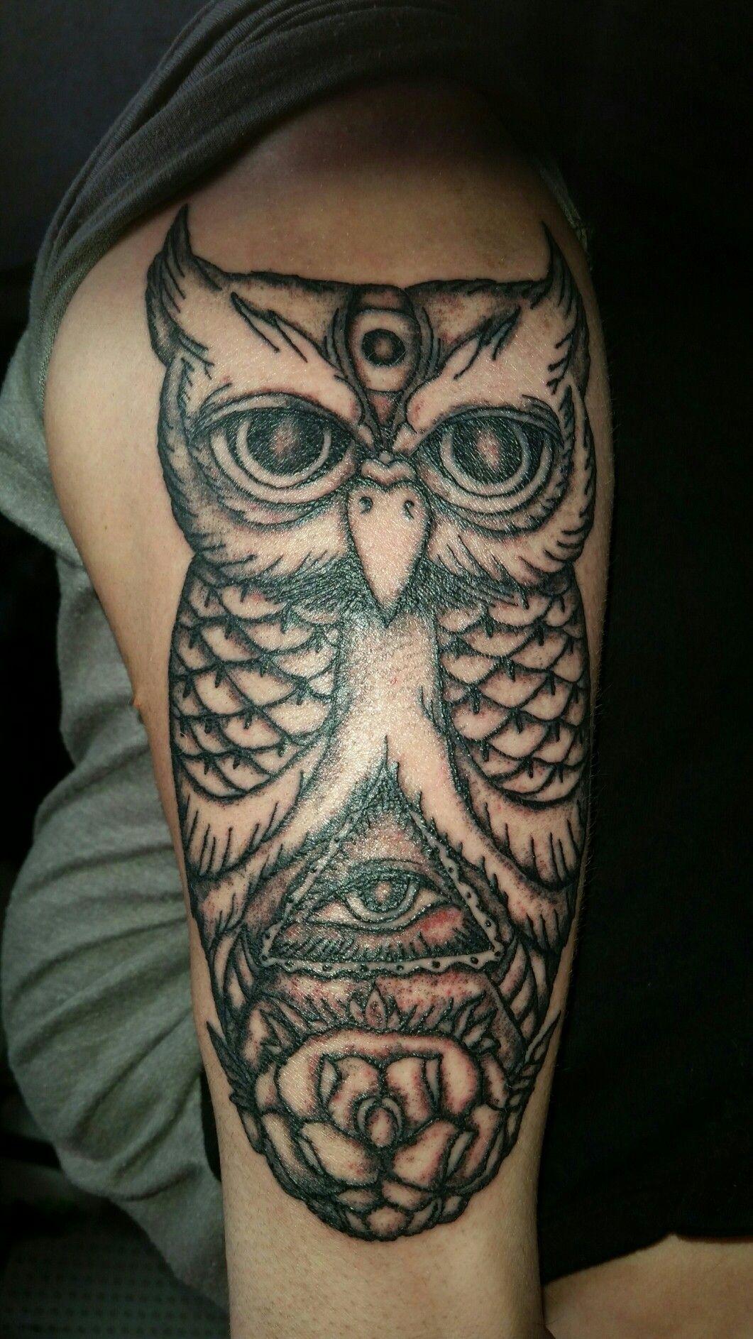 Newest peice #illuminati #owl #sleeve #halfsleeve #tattoo #forearm ...
