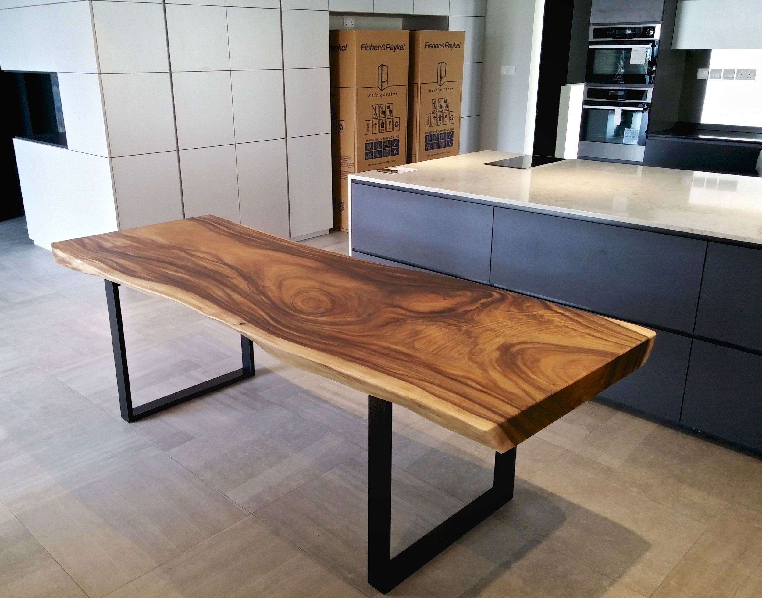 Solid Wood Dining Table with Black Metal Legs