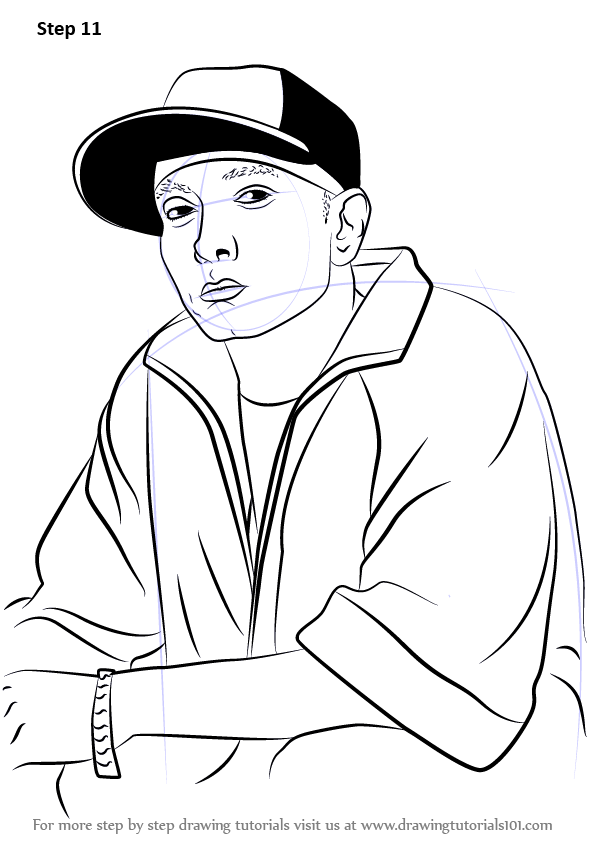 Learn How To Draw Eminem Rappers Step By Step Drawing Tutorials Eminem Drawing Eminem Rapper Art