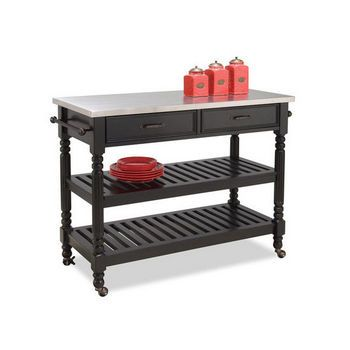 Home Styles Savannah Cart In Black With Free Shipping | KitchenSource.com  #kitchensource #