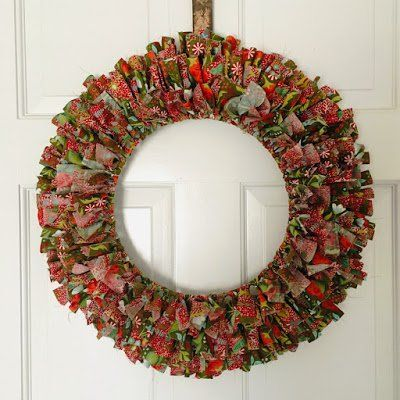 Photo of Scrappy Fabric Wreath Perfect for any Season!