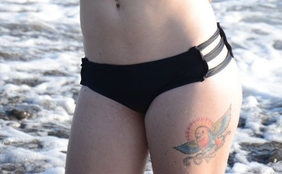 48e0d6b0b7453 Custom REVERSIBLE Strappy Hipster Bikini Swimsuit Bottoms / Any Size / 12  Colors and Prints / Made To Measure
