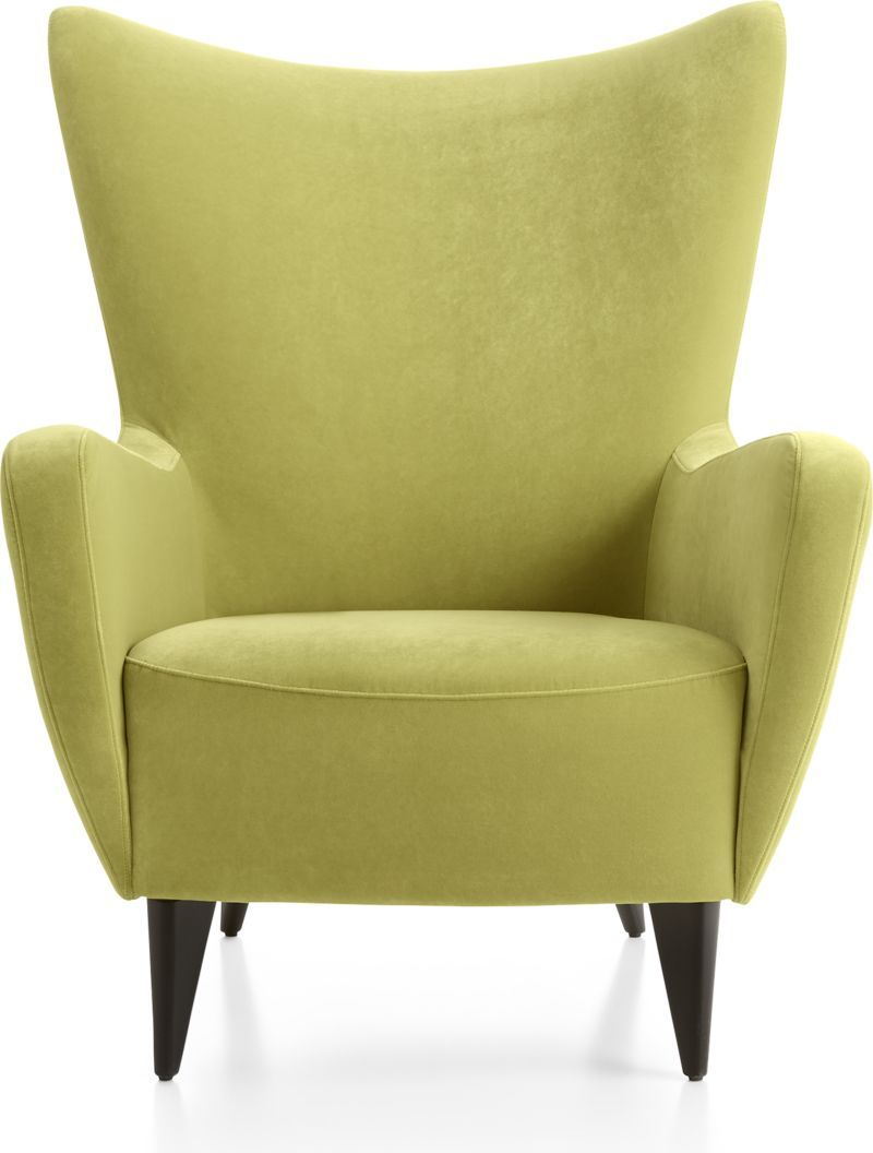 Elsa Lime Green Velvet Wingback Chair + Reviews Crate