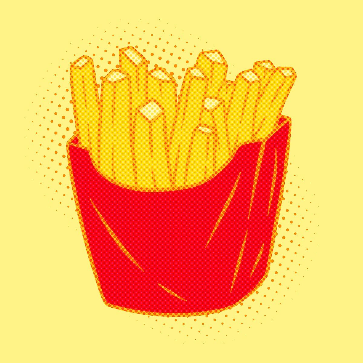 Pop art style french fries sticker overlay with halftone