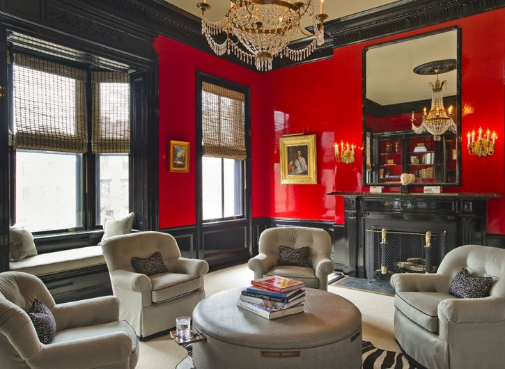 Black Fireplace Red Lacquered Walls With Images Red Room Decor