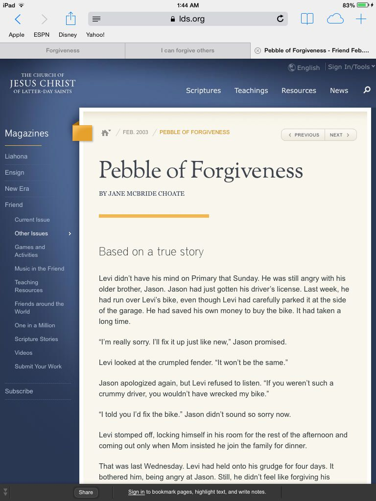 Lesson 30 I can forgive others pebbles of forgiveness story February ...