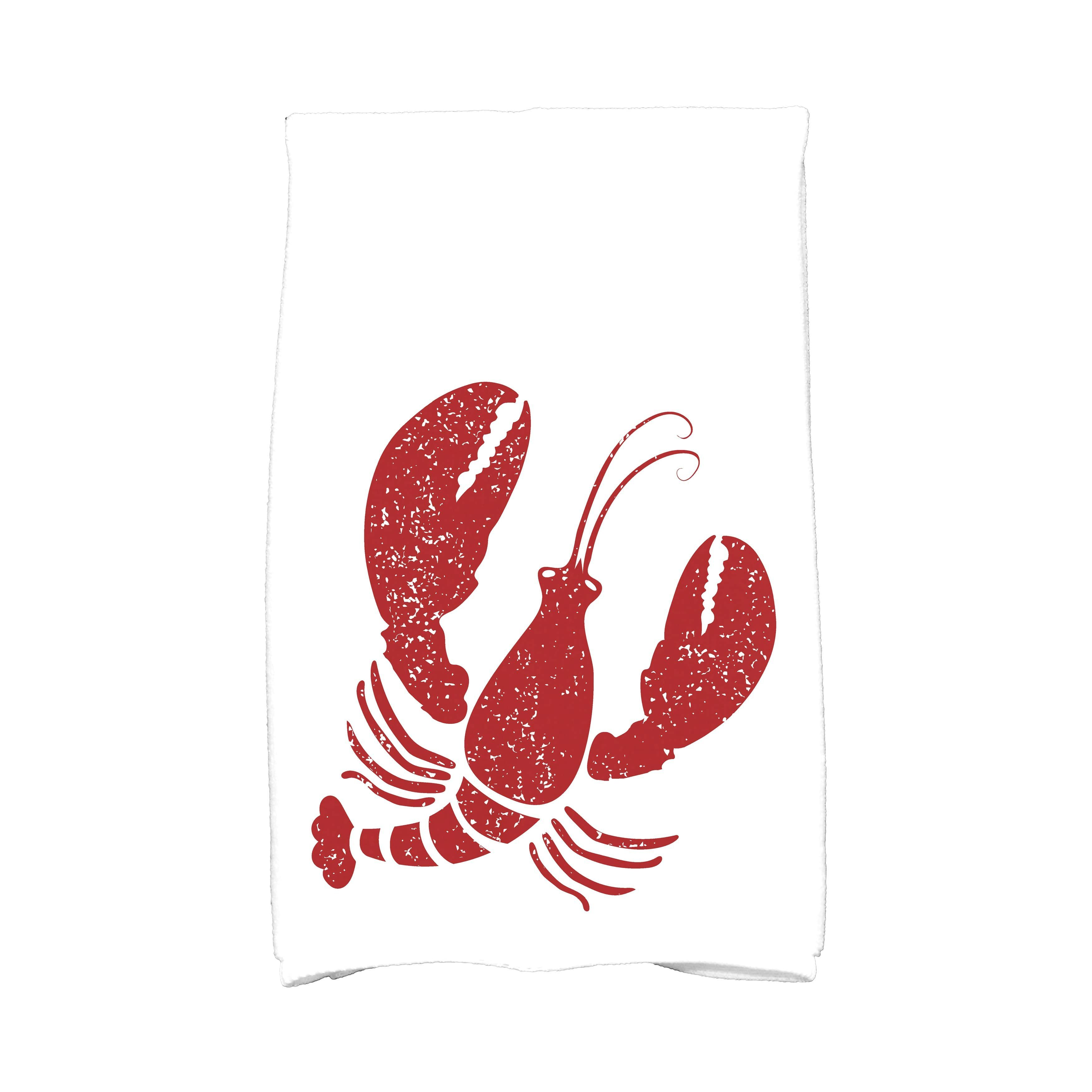 E By Design 16 X 25 Inch Lobster Animal Print Kitchen Towel Navy