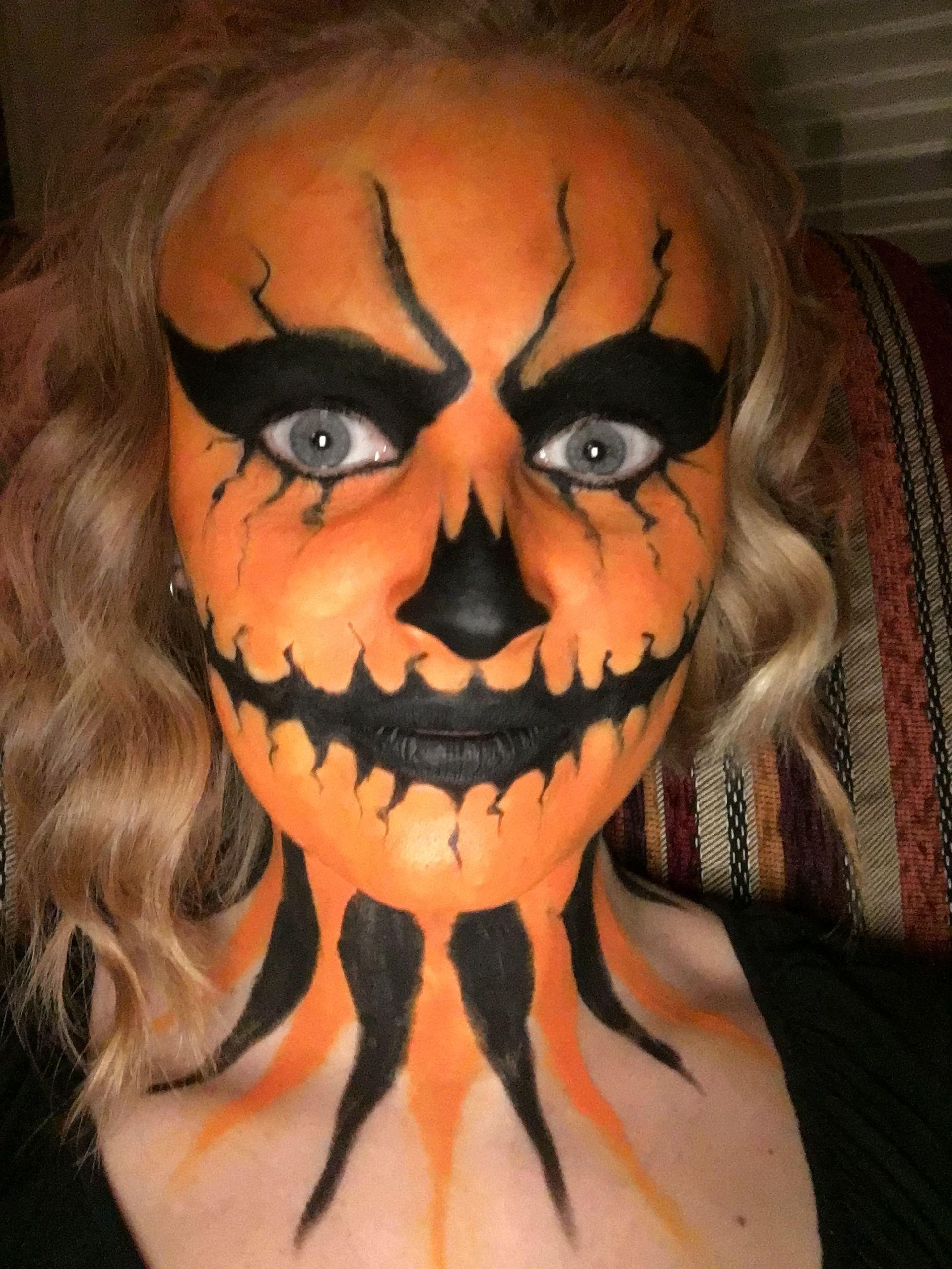 pumpkin kurbis make up fur halloween