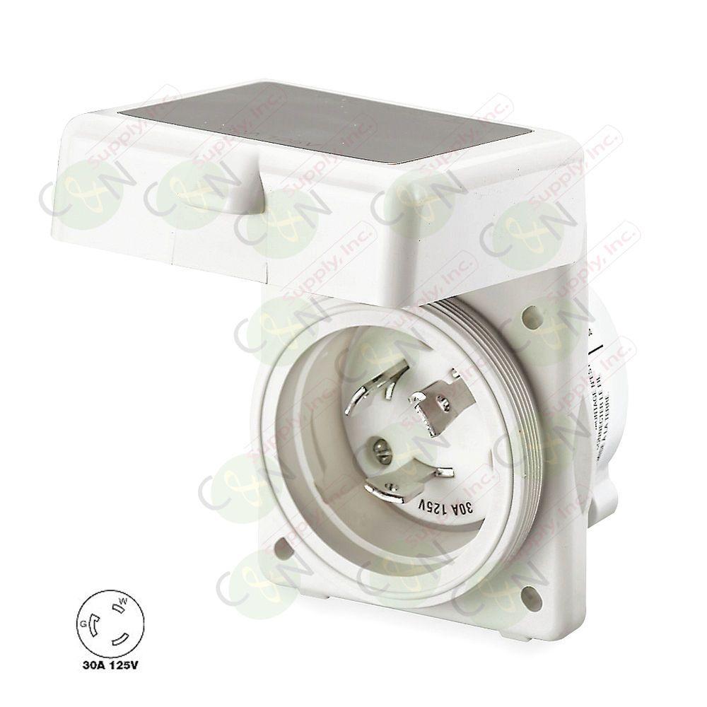 Hubbell 30 Amp 125v Marine Shore Rv Power Cord Twist Lock Inlet Motorhome Wiring Hbl303nm