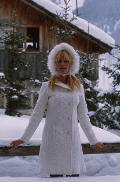 Brigitte Bardot modelling winter fashion, 1966. Photo by ...
