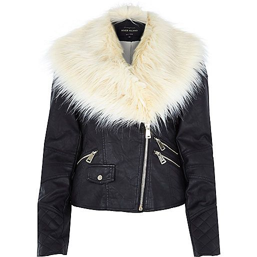 9698ca372b73d Black leather-look faux fur trim biker jacket - biker jackets - coats    jackets - women