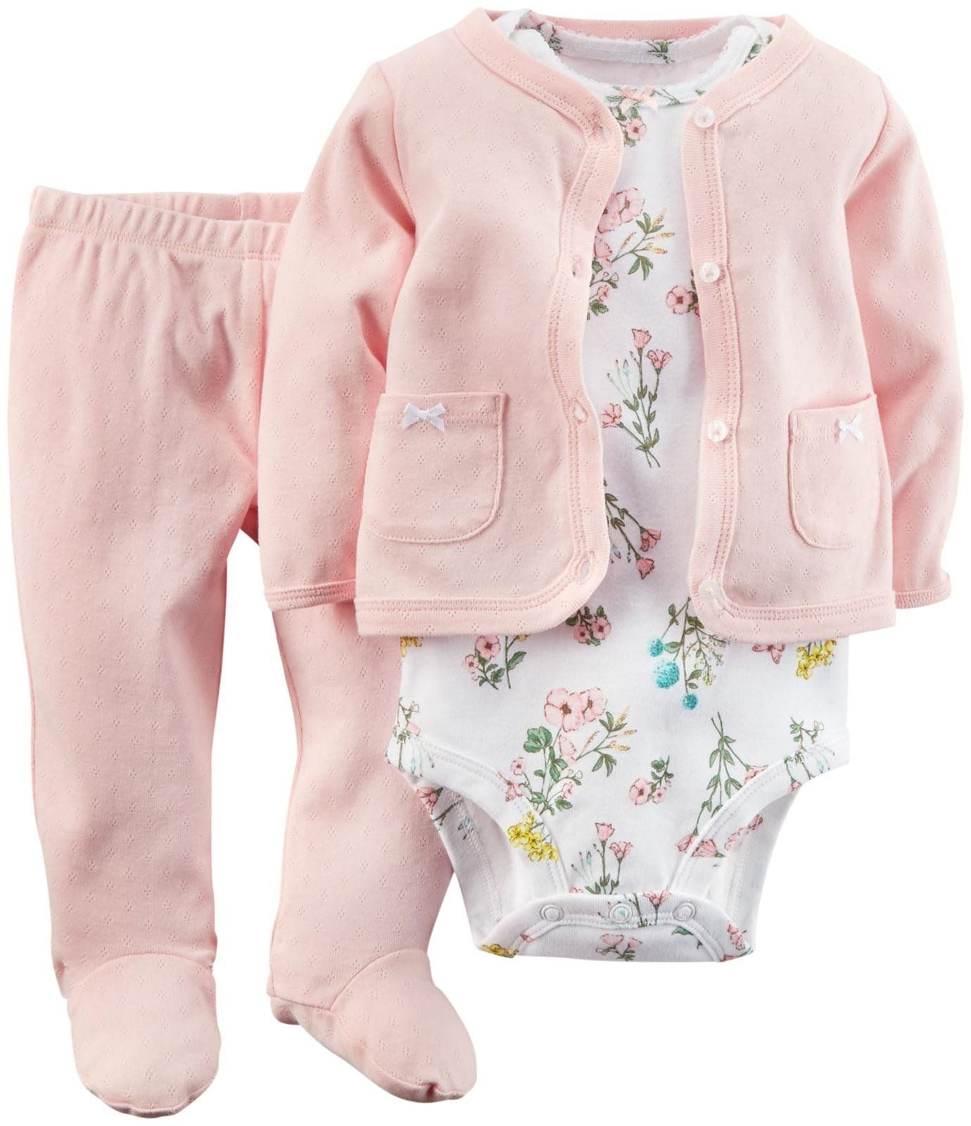 Carter S Baby Girls 3 Piece Footed Set Baby Pink