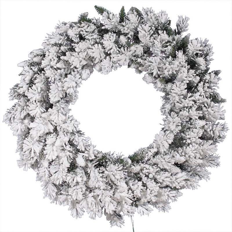 "Vickerman A128242 42"" Flocked Snow Ridge Wreath 160T"