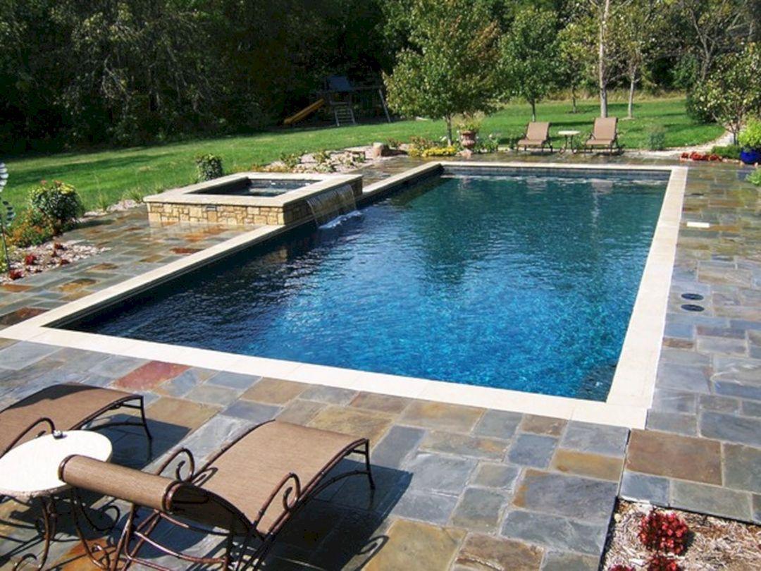 25 Stunning Rectangle Inground Pool Design Ideas With Sun Shelf Inground Pool Designs Rectangle Pool Rectangular Pool
