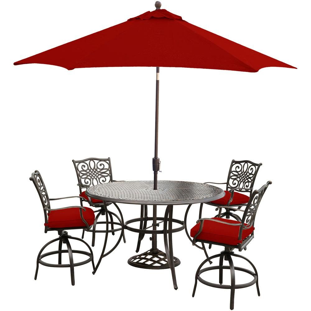 Pleasant Hanover Traditions 5 Piece Aluminum Outdoor Bar Height Ocoug Best Dining Table And Chair Ideas Images Ocougorg